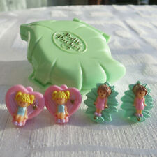 Mini Polly Pocket Princess Earring Case Ohrclips Schmuck Schatulle rosa Clips