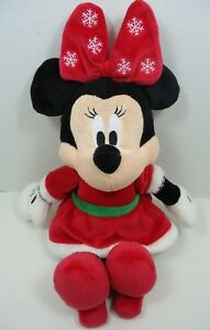 Disney Baby Minnie Mouse Christmas Plush With Crinkle Ears Red Dress