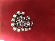 Authentic YVES SAINT LAURENT YSL ICONIC Faux Pearl Statement Ring 7