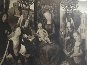 ANTIQUE PRINT 1901 THE VIRGIN & CHILD, WITH SAINTS BY HANS MEMLING RELIGIOUS ART