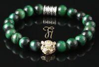 Tigerauge grün Armband Bracelet Perlenarmband goldfarbener Tigerkopf 8mm