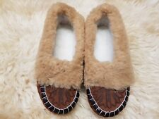 womens ladies natural leather slippers moccasins all size 2/3/4/5/6/7/8 N