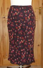 COUNTRY CASUALS purple brown pink rust orange floral SILK midi calf skirt L14 16