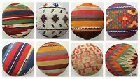 Turkish handwoven kilim cushion cover ROUND (35cm, 13.7inches) Circle Boho Style