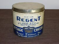 "VINTAGE  KITCHEN 5 1/4""  REGENT MEYER ZAUSNER PA COTTAGE CHEESE TIN CAN *EMPTY*"