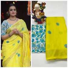 New Indian  Printed Floral Linen Saree Sari Yellow Color Fancy Party Wear Saree