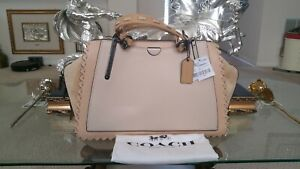 Coach Satchel Large Whipstitch Leather Dreamer 36 Handbag 69613 (Ivory Multi)