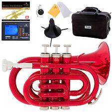 Mendini Red Lacquer Mini / Pocket Trumpet +Tuner+Stand+Case