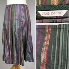 M&S Cotton Mix Skirt UK 12 Petite Flare Flippy Mid Calf Stretchy Silky Striped