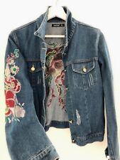 NEW Women Ladies Blue Denim Embroidery flower Jacket Coat AUS 8