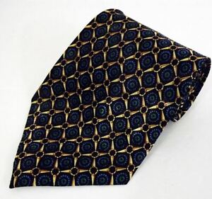 NWOT Men's Dimoda Hand Made Imported Silk Green Blue Gold Geometric Tie