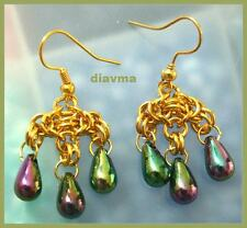 hand crafted GOLDEN chainmaille rainbow drip EARRINGS