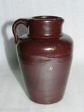 Primitive Vintage Brown Stoneware Mustard Pitcher Jug Country Decor