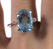 VINTAGE AQUAMARINE DIAMOND WHITE GOLD RING (SZ 6)