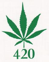 "MARIJUANA LEAF ""420"" POT CANNIBUS WEED Window Wall Bumper Vinyl Decal Sticker"