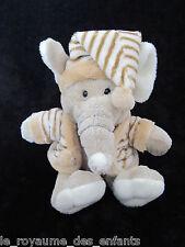 Doudou Eléphant Elephant Planet Pluch Jemini marron écru beige bonnet rayé