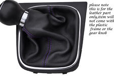 PURPLE STITCHING FITS VW EOS CONVERTIBLE 2006-2013 LEATHER GEAR GAITER ONLY