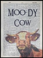 Moody Cow Pun Vintage Dictionary Page Picture Print Wall Art Quote Animal Moo