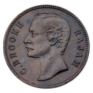 1870 Sarawak 1 Cent Copper Coin (About Extra Fine Condition) KM# 6