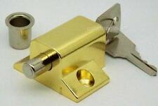2 x BRASS PLATED KEYED INSURANCE* LOCKS FOR PATIO DOORS & WINDOWS KEYED ALIKE