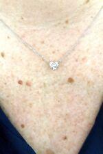 SOLITAIRE HEART DIAMOND stud NECKLACE TCW 1.01 J VS2 GIA bridal engagement birth