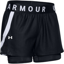 Women's Under Armour Play Up 2-in-1 Black/White Training Shorts UA Workout Pants