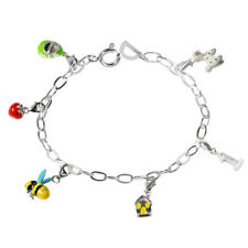 De Buman Sterling Silver Enamel Strawberry and Bee Bead fit Bracelet, 8.5 inches