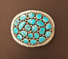 Native American Sterling Silver Turquoise Cluster Belt Buckle