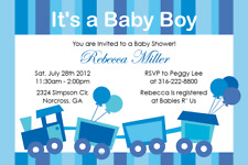 Choo Choo Train Boy Baby Shower Custom Digital Invitation Printable