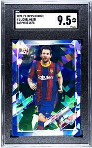 2020-21 Topps Chrome UEFA Sapphire Lionel Messi SGC 9.5 #1 PSG Barcelona