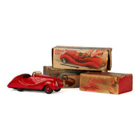 THREE ORIGINAL BOXED SCHUCO TINPLATE TOY CARS 1940'S