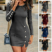 Ladies Long Sleeve Round Neck Knitwear Jumper Bodycon Party Pullover Mini Dress
