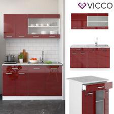 VICCO Küchenzeile SINGLE Einbauküche 140 cm Küche Rot Bordeaux Hochglanz R-LINE
