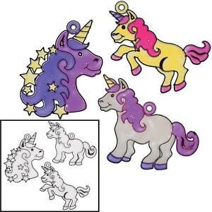 "12 Plastic 4"" Unicorn Clear Sun-catchers - Kids Painting Craft -"