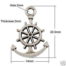 10 x Tibetan Silver Anchor Wheel Charms Pendant Sea