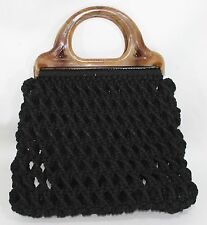 Vintage 70s Macrame Black Clutch Purse Bag  Handmade Hippie Boho Chic