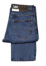 Uomo Lee Brooklyn Comfort Fit Gamba Dritta Jeans Patta con Zip - Stonewash Blu