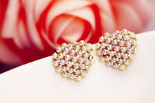 Gold & Ivory White Pearls Cluster Heart Stud Earrings Wedding Bridal E409