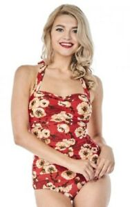 Esther Williams Classic Sheath Geisha Floral Missy Pinup Bathing Swimsuit E11176