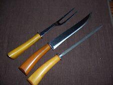 3 Piece Set / Serving Utensils / Carving Cutlery - Butterscotch Bakelite Handles