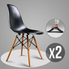 Black Set of 2 Mid Century Eames Style DSW Dining Side Chairs w/Wood Legs