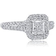 1.08 Ct G-Vs2 Radiante Corte Natural Diamante de Compromiso Anillo Redondo 18Ct