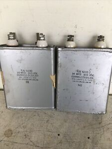 pair of vintage tube audio amplifier oil capacitors CORNELL DUBILIER 10mfd 600V