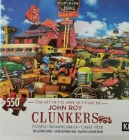 John Roy CLUNKERS RED GUITAR LOUNGE 550 Pc Puzzle VINTAGE VECHICLES 24X18 NEW