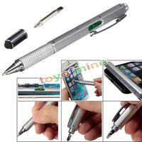6 in1 Touch Screen Stylus with Spirit Level Ruler Ballpoint Pen Screwdriver Tool