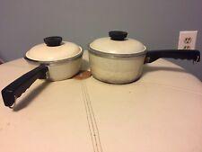 Vintage CLUB Aluminum 2 WHITE Sauce Pans Pot & Lid  50s