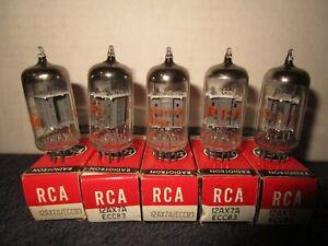 (4) Mint  NOS NIB 1960's RCA 12AX7A + (1) Free Audio Guitar Tubes