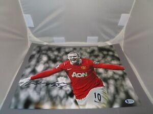 Wayne Rooney Signed Manchester United 11x14 Photo Soccer Beckett BAS COA 1C