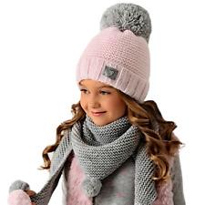AJS Mädchen Winterset Mütze Wintermütze Strickmütze Bommelmütze Halstuch Grobstr