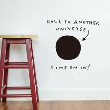 """Funny Words """"Hole to Another Universe"""" Vinyl Wall Sticker Home Decor Wall Decals"""